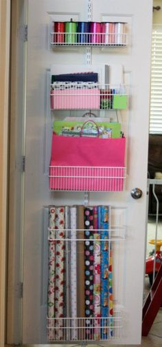 Gift wrap storage that's easy to get to!! I've been trying to figure out how to organize this stuff, forever. I'll give this a try...