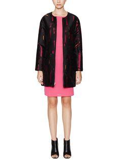 Jacquard Coat with Leather Trim by Alex + Alex at Gilt