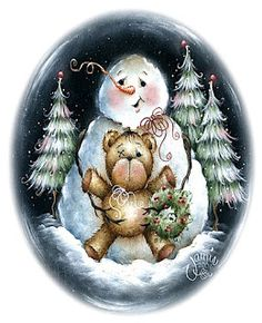 Snowman with his friend, Teddy. Snowman Images, Snowmen Pictures, Christmas Pictures, Frosty The Snowmen, Cute Snowman, Snowman Crafts, Christmas Drawing, Christmas Paintings, Christmas Snowman