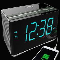 Itoma Cks3501bt Alarm Clock Radio With Bluetooth Fm Radio Dual Alarm Auto Time Date Usb Charging Auxiliary Input