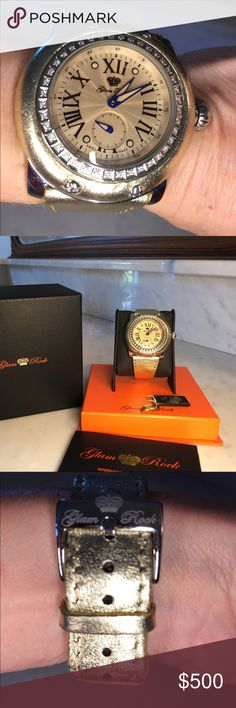 EUC Glam Rock gold watch with diamonds around This is a fabulous watch and all the rage in Florida‼️ It is a real statement piece with its large size and the gold leather that covers the Bezel and continues to the band. There are real Dimond's around the Bezel and are a good size. There is a sapphire stone in the top of the crown. The cover film is still on the back plate, the watch is water resistant 10 ATM, Swiss Made GR10028 and MIAMI on the back. Sapphire crystal is perfect on the doll…