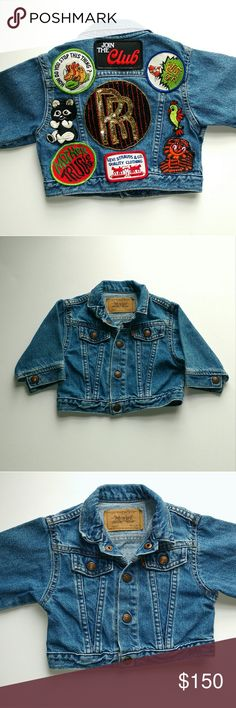 """Vintage Baby Levi's Denim Jacket With Patches Cute! Perfect condition.  Featuring Vintage patches from the 70s and 80s, Sequin Rolls Royce, Levi Denim, animals and more!  Size 12 Months Measurements, laying flat: Length 11.5"""" Shoulders 11"""" Sleeve length 9"""" Chest 12"""" Levi's Jackets & Coats Jean Jackets"""