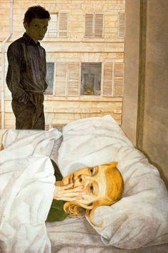 Lucian Freud: Hotel Bedroom, 1954 #art #arthistory #portrait #portraiture #morning #awake #bed #lucianfreud #artist
