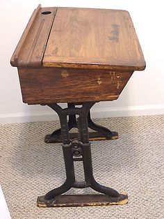 Antique-School-Desk-Wood-School-Desk-Vintage-Wood-Desk-Early-1900s