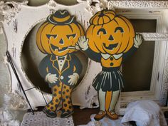 vintage garden ornaments | Vintage Halloween Pumpkin Garden Yard Sign Large Metal orange and ...