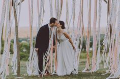 Decorating With Ribbon? Use Flagging Tape Instead! A Practical Wedding: We're Your Wedding Planner. Wedding Ideas for Brides, Bridesmaids, Grooms, and Diy Your Wedding, Wedding Tips, Wedding Photos, Wedding Planning, Wedding Blog, Wedding Ceremony Ideas, Reception, Wedding Backdrops, Ribbon Decorations