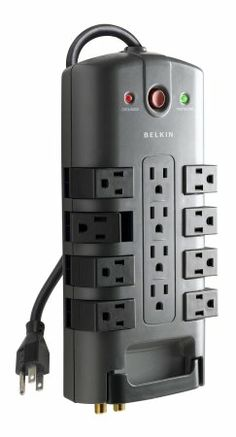 Power Strip Socket Belkin 12 Outlet Pivot Plug Surge Protector with 8 Foot Cord - Go Shop Electronics Cyber Monday, Gadget World, Cable Organizer, Extension Cord, Office Equipment, Power Girl, Ac Power, Home Theater, Theatre