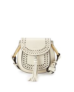 d0c2bb8eac6e Chloé - White Hudson Perforated Leather Mini Saddle Bag - Lyst