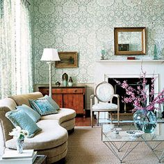 Modern wallpaper: Beautiful blue + white damask in modern-traditional living room by xJavierx, via Flickr