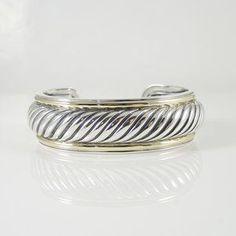 David Yurman Sterling Silver 18K Yellow Gold Narrow Carved Cable Cuff Bracelet #SterlingSilverDavidYurman