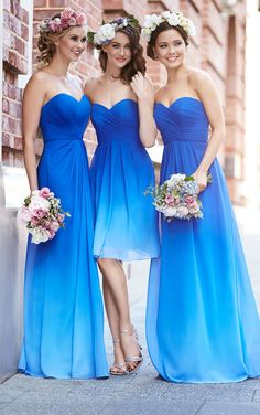 Sorella Vita designer strapless chiffon floor-length dress has a criss-crossed ruched bodice and sweetheart neckline--now in OMBRE! Check out our blue ombre dress today!