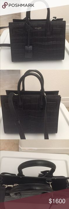 Saint Laurent Nano Sac De Jour Authentic! Saint Laurent Classic Nano Sac De Jour Bag In Black Crocodile Embossed Leather- Authentic! Excellent condition With box and dust bag Yves Saint Laurent Bags