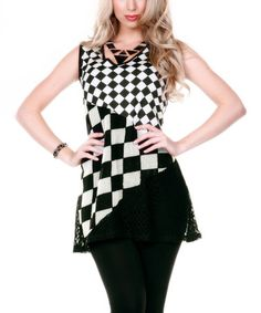 This Black Checkerboard Collage Tunic by Aster is perfect! #zulilyfinds
