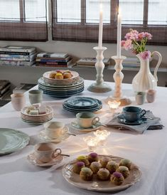 "Zastawa stołowa - Faïencerie de GIEN - ""Collection Rocaille Pastel """
