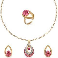 71% discount on Austrian Diamond Coloured Stone Pendent Set + Ring at Tradus.com
