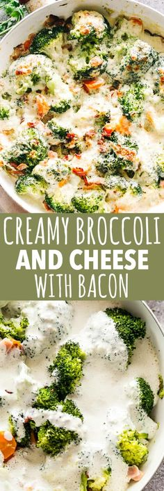Creamy Broccoli and Cheese with Bacon – Cheesy broccoli and crispy bacon baked in a creamy, deliciously flavorful cheese sauce! Creamy Broccoli and Cheese with Bacon Recipe Broccoli Recipes, Bacon Recipes, Side Dish Recipes, Vegetable Recipes, Easy Dinner Recipes, Cooking Recipes, Healthy Recipes, Keto Recipes, Healthy Food