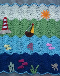 Ravelry: Waterworld ripple baby blanket pattern by The Hobbyhopper.