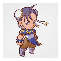 Pocket Fighter Chun-Li 2 Print - Street Fighter - Video game