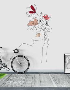 Line Art Woman With Flowers 1 Wallpaper Art Mural, Wall Murals, Wall Art, Wall Drawing, Art Drawings, Canvas Painting Tutorials, Flower Embroidery Designs, Art En Ligne, Easy Paintings