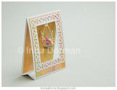 Tent card with hanging quilled flower pot