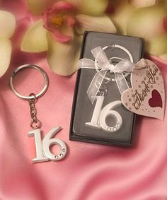It's easy to show your parental pride on her special day with these Sweet 16 key ring favors She'll always be your little girl, but today she celebrates turning Sweet Sixteen - and these key rings mak Sweet 16 Gifts, Sweet 15, Sweet 16 Birthday, 16th Birthday, Sixteenth Birthday, Paris Birthday, Teen Birthday, Sweet 16 Party Favors, Party Gifts