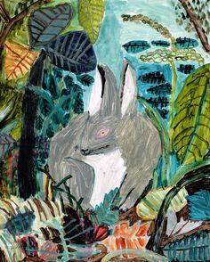草むらのアナウサギ