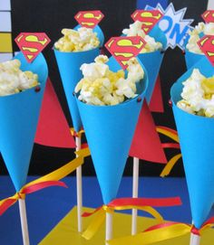 Superman Popcorn Cones from Sweeten Your Day Events