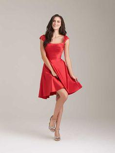 Knee Length Red Cap Sleeve Pleated Timeless Charmeuse A-line Short Bridesmaid Dress