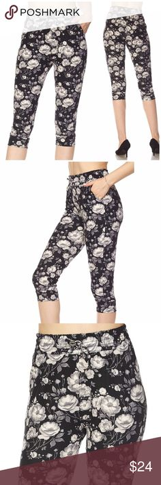 Floral Drawstring Brushed Capri Leggings Floral Print Drawstring Yummy Brushed Capri with Pockets. Everyone raves about the quality and comfort of this cute and super soft brushed dolphin shorts, featured in a beautiful print. They are sure to add flair to any outfit!  It's easy to style this with your favorite tops. 92% Polyester, 8% Spandex.  Available S/M or L/XL Sizes listed below are for ease of search Fanfindz Pants Leggings