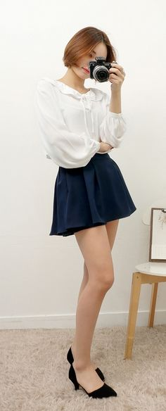 Korean fashion - white blouse with navy skirt and black heels