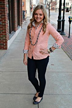 Double Shirt Outfit! LOVE the colors and accessories used! #style