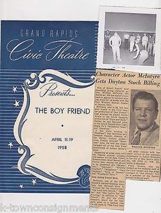 THE BOY FRIEND VINTAGE 1950s GRAND RAPIDS MI THEATRE PLAYBILL & SNAPSHOT PHOTOS