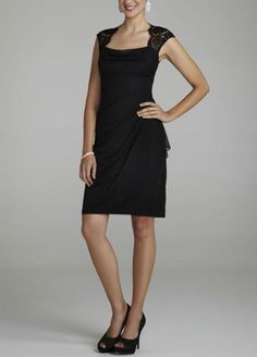 Classic and alluring, this formal dress will ensure you have all eyes on you at any occasion!   Feminine lace cap sleeves frame an open back that is sultry without revealing too much.  The sheer matte jersey skirt of this gorgeous little black dress features chic side ruffles.  Available in Black, Ivory, Navy, Plum, or Royal.  Fully-lined. Back Zip. Imported polyester. Dry clean only. Available in Plus sizes as Style XS3393W.