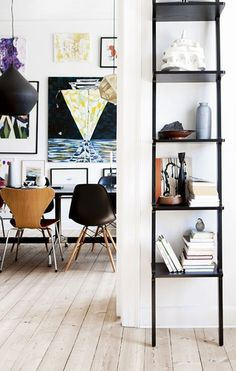 Make the most of a narrow wall or tiny nook with a tall skinny shelving unit. #declutter #Marie-Paule-Lancup-Real-Estate