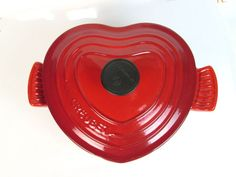 NEW Le Creuset Cast Iron 2-quart Heart Casserole Cherry Red Enamel France French #LeCreuset