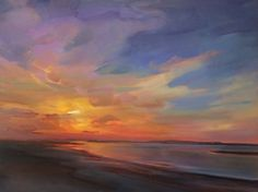 "Holly Ready ~ ""Ferry Beach Sunset"" - Oil on Canvas Beach Sunset Painting, Sky Painting, Landscape Art, Landscape Paintings, Landscapes, Sunset Paintings, Oil Pastel Art, Art Oil, Painting Inspiration"
