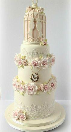 roses and birdcage wedding cake