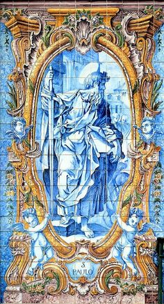Tile panel of St Paul in Cascais Portugal I usually point him out to my tour guests as we drive past.