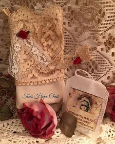 Tattered LaceBag  with rose scented bath salts by TeasHopeChest