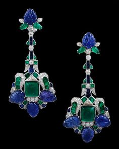 Platinum Diamond Emerald & Sapphire Earrings
