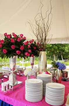 Pink wedding buffet decoration