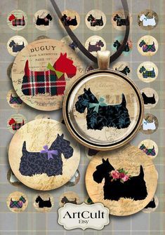 SCOTTIE Digital Collage Sheet 1 inch and 1.5 inch size by ArtCult, $4.69