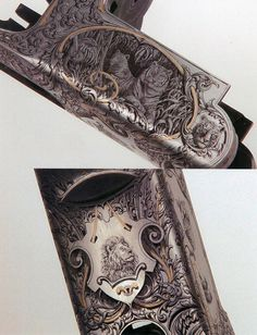 """The Gun Art of Master Engraver Lee Griffiths While some clients give the engraver carte blanche, others commission specific designs. One of Griffith's repeat customers has an off-beat sense of style. He asked to have one of his skeet guns decorated with lions and tigers and bears. Griffiths hid the words """"Oh my!"""" on the barrels."""