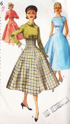 1950s Junior Misses Empire Waist Dress. I wonder if gentlemen assisted ladies with their coats out of necessity, because the buttons were on the back.