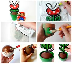 Create your own Mario Piranha perler bead plants! Anyone would love these easy to make DIY gifts. Fun and affordable, and would be an excellent party favor! Best part is not having to water them.