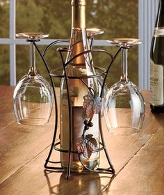 I don't drink alcohol, but I'm thinking this would be nice with sparkling grape juice. Metal Wine & Glass Rack- looks nice.