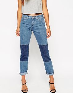 Image 4 ofASOS Brady Low Rise Slim Boyfriend Jeans in Patty Mid Wash with Patches
