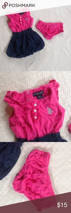 MOVING SALE‼️ OFFER👍NEW US Polo Assn. Dress Never worn. Shirred waist to a bubble denim skirt is attached to the ruffle tank. Matching diaper cover included! U.S. Polo Assn. Dresses Casual