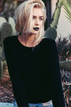Blackish lipstick with the blond hair... .gorgeous