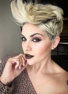 133 best Women's Pompadours images on Pinterest | Pixie cuts, Short ...
